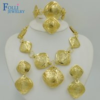 Wholesale Romantic Brand Dubai Gold Plated Jewelry Set K Luxury Handmade Copper Necklace Costume Jewelry Set Elegant Long Dsign