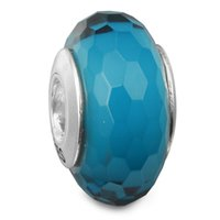 aqua spikes - Abstract Faceted Silver Charm with Fascinating Aqua Murano Glass Sterling Silver Bead Fit Pandora Bracelet Fashion DIY Charm Brand