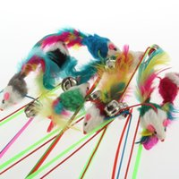 Wholesale 1pcs Cute The Dangle Faux Mouse Rod Roped For Pet Cat Bell Funny Fun Play Playing Toy Colorful