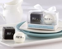 Wholesale 300pairs New quot Mr Mrs quot Ceramic Salt And Pepper Shaker Wedding Decoration Gifts Favors Supplies