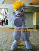 big hair costumes - Sweet Blue Rainbow Dash Horse Mascot Costume Mascotte My Little Pony Steed With Yellow Hairs Big Yellow Eyes No Free Ship