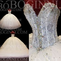 Wholesale Custom Made Luxury Wedding Dress Lace Crystal Ball Gown Bridal Dresses Beaded Lace up Vestido de Casamento W4030