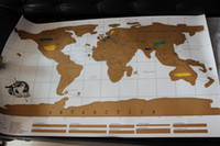 Wholesale Top quality Scratch OFF MAP Travel Scratch Map x52 cm World Map without Retail packaging DHL Free