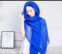 Wholesale Muslim Hijab Scarves Cotton Voile Pashmina Shawl Jersey Scarves For Women Infinity Scarfs Wraps cm Plain Colors Scarfs Designer