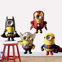 Wholesale Cartoon The Avengers Wall Sticker Despicable Me Minions D Wall Decals For Kids Bedroom Removable PVC cm DHL Free