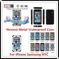 Le plus récent en verre trempé imperméable couverture en métal dur pour iphone 6 plus 4.7 5.5 HTC ONE M7 M8 Samsung S3 S4 S5 avec support de stand pour i6