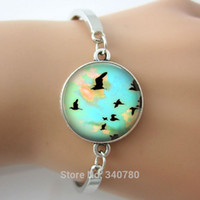Wholesale Cuff Link Bird - Fashion Bangles glass cabochon dome with birds,map picture bracelets & bangles,antique silver metal cuff bangles free shipping