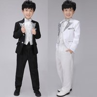 Wholesale 10sets Kids Formal Wear Printing Pattern Tuxedo Sequins Vest Bowtie Little Boys Wedding Party Apparel L05
