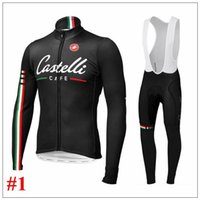 Wholesale New Cas Cycling Jersey Sets Cafe Winter Fleece Long Sleeve With Padded Bib None Bib Different Men Cycling Wear XS XL Can Mix Size