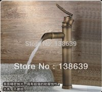 antique sink for sale - Hot sale Bamboo style antique basin faucet brass brushed waterfall faucet for bathroom bathroom sink taps