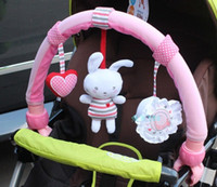 Wholesale travel arch baby stroller car hanging pink musical clip toys rabbit freeshipping