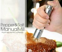 Wholesale Stainless Steel Thumb Push Salt Pepper Grinder Spice Sauce Mill Grind Stick Tool