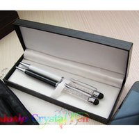 best rollerball pens - 2pcs the best gift for lovers black and white swarowski crystal rollerball pens pen