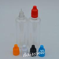 Grande qualité liquide e 100ml bouteille vide bouteilles en plastique PET gouttes avec long et mince Conseils et sabotage Childproof Casquettes aiguille Bouteille