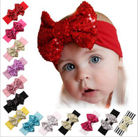 baby wholesale products - 15 off hot sale fashion Children large sequined bow hair band baby hair Christmas products hair accessories drop shipping