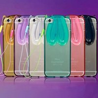 apple ideas - For iPhone6 s Plus sPlus fashion ideas of rabbit ears soft tpu shell hang rope cases