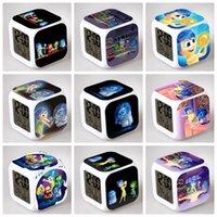 Wholesale 100PCS HHA262 Lovely styles Inside Out Alarm Clock MultiColor Cute Cartoon LED Clock Students Clock Inside Out digital clock