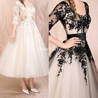 Wholesale Best Selling Cheap In Stock Special Occasion Dresses Tea Length Tulle Scoop Half Sleeve Lace Black Prom Dresses Cocktail Evening Gowns