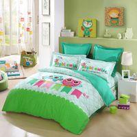 Cheap LOVO Kids 100% cotton cartoon cute owl bedding set 4pcs bedclothes bedsheet pillowcases duvet cover bedspreads queen full size