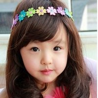 Wholesale 1PCS Lovely Kids Childrens Baby Girl Hairband Colorful Flower Hair Head Band Bow Beautiful Accessories