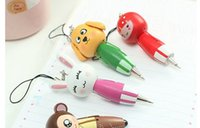 Wholesale Funny Magic Pen Wooden cartoon animal Pendant mobile phone chain ballpoint pen rabbit dog monkey pig frog cubs random send