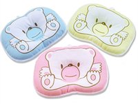Wholesale 100 Cotton Baby Pillow Infant Bedding Print Bear Oval Shape Shaping Little Foam Neck Support Preventing Flat Head Syndrome
