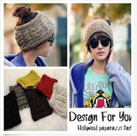 Wholesale Women s Fashion Knitting Wool Winter Warm Knit Wide Hair Band Headband Hat colors available Free Shippping