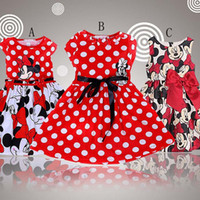 Summer Knee-Length Organic Cotton Free Shipping Summer Clothing Baby Girls Dress Lovely Color Dot Mickey Mouse Minnie Dress Baby Clothes Kids clothing