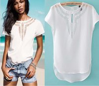 acrylic shirts - 2015 New Summer Women Chiffon Round Neck Short Sleeve Blouse Casual Hollow Out Pullover Lady Shirt LD