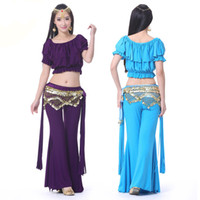 Cheap Costumes For Tribal Belly Dance Set Top&Pants&Hip Scarf Danca Do Ventre Lady Professional Belly Dancing Clothes Indian Dress DQ1025