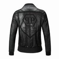 Wholesale New arrive Punk Style Faux leather jacket brand JL5639 leather sporty style men casual jacket M XXXL
