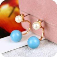Wholesale Pearl Gold earrings White pearl stud earrings crystal shamballa earrings