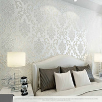 bedroom wall colors - 10M Many Colors Luxury Embossed Textured Wallpaper Non woven Decal Wall Paper Rolls for Living Room Bedroom Decoration NWWR SJ