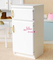 Wholesale Dollhouse Miniature Wood White Vintage Refrigerator