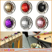 Wholesale Hot Sale Colorful Crystal Alloy Purse Bag Handbag Hanger Cabide Folding Portable Hook Holder Ganchos Para Parede
