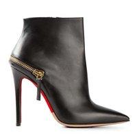 Cheap Difeina New Fashion Women's black Cowskin Brown Ankle Boots Pointed Toe Euramerican Style Slip-on Shoes Side Zipper Deep Stiletto Heel 12cm