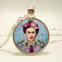 artists american - 10pcs Frida Kahlo Necklace Feminists Artist Art Pendant Glass Cabochon Necklace