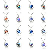 decoration jewelry colors - New Crystal Pendant Necklace for Women Colorful Star Moon Imitation Gemstones Retro Decorations Charm Jewelry Colors