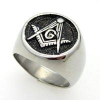 masonic - Men s Thumb Rings Antique Silver Casting Rings L Stainless Steel Masonic Member Sign Honer Rings SR00761