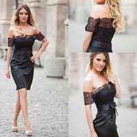 Wholesale Black Sheath Sexy Off Shoulder Lace Homecoming Dresses Short Sleeve Backless Knee Length Satin Custom Made Short Party Dresses Fashion