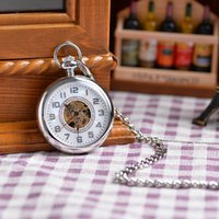 antique pocket watch fobs - Antique Stainless Mechanical Hand Winding Steel Pocket Fob Watch New Shining White Silver Analog Pendant Pocket Watch Chain