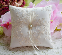 beaded favors - Lace Pearl cm Bridal Ring Pillow Organza Satin Lace Bearer Flower Rose Pillows Bridal Supplies Beaded Wedding Favors Box