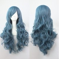 Wholesale Stock Fashion Heat friendly Synthetic Curly Hair Full Lolita Hairpiece Lovely Wigs for Women smoke blue long wig Rozen Maiden