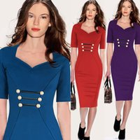 clothing made in china - 2015 Hot Sales Summer V neck Knee Length Bodycon Dresses for Career Women Office Work Dress Cheap Clothes Made in China Wholesales