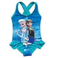 Wholesale Newest Frozen Elsa Blue Swimwear Girls One Piece Cartoon Bikini Bodysuit Fashion Bathing Suits Swimsuit by DHL
