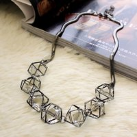 Wholesale Hot Women s Beads Necklace Western Style Hollow Out Three dimensional Crystal Accessories Female Lady s Clavicle Chain Choker Necklace Gold