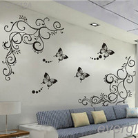 wisteria vines - Butterfly Feifei Wisteria Flowers Vine Art Vinyl Wall Decal Stickers Home Decor