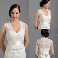 Cheap 2015 Sexy White Ivory Wedding Bridal Bolero Jacket Cap Wrap Shrug Cap Sleeve Sleeveless V-Neck Lace Applique Custom Made Jacket for Wedding
