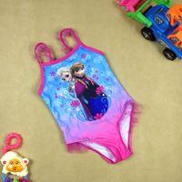 Wholesale Frozen Baby Girls Bikinis Swimsuits Lace One Piece Swimwear Children Bathing Suits For Kids Swim Clothing
