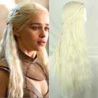 Wholesale Girl Long Purecolor Light Golden Curls Daenerys Targaryen Cosplay inch Temperature Fiber Synthetic Hair Wigs Fast Shipping